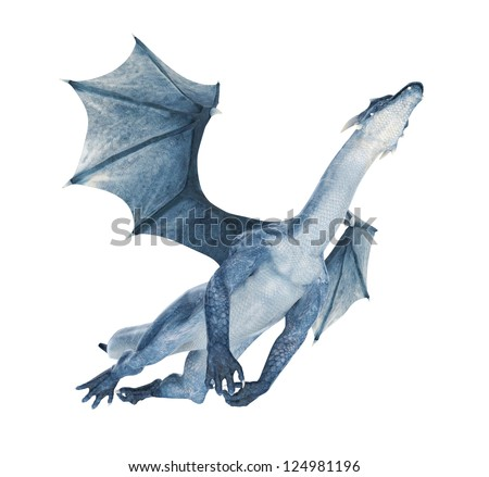 blue dragon flying out - stock photo