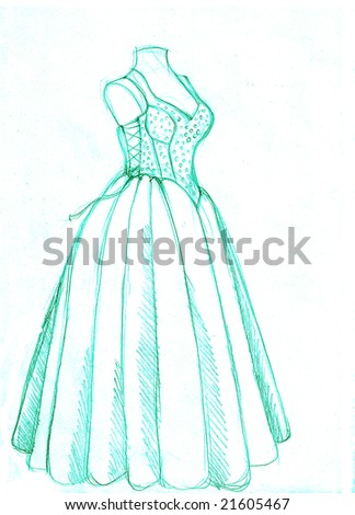 Blue dress on a white background