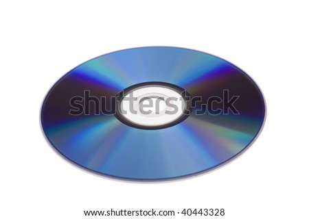 Blue DVD disc isolated on white background