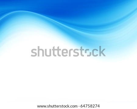 Blue dynamic wave on white background, dynamic illustration - stock photo