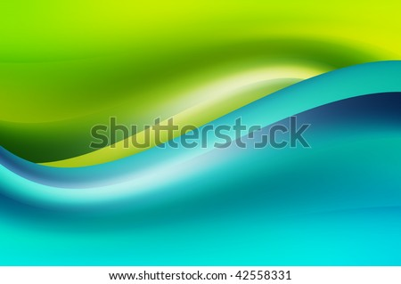 Blue dynamic wave over green background. Abstract illustration