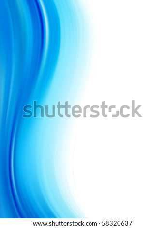 Blue dynamic wave over white background, Vertical illustration - stock photo