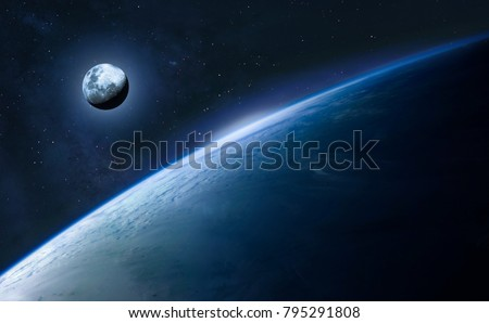 Blue Earth And Moon In The Space Wallpaper Elements Of This Image Furnished