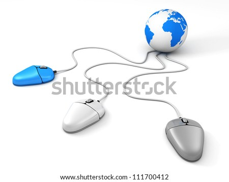Blue Earth Globe connected with three different computer mouses - stock photo