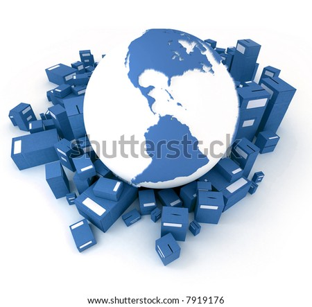 Blue Earth globe surrounded by packages oriented to America - stock photo