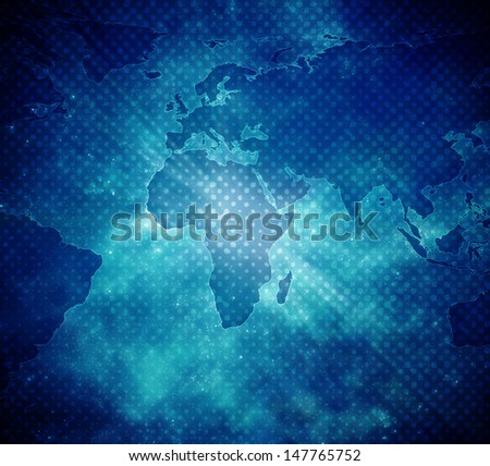 blue earth map with stars - stock photo