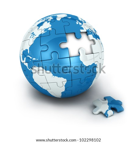 blue earth of puzzle with one piece missing, isolated white background, 3d image