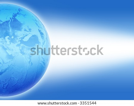 Blue Earth on the blue background - stock photo