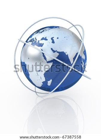 Blue earth  the communication symbol. Europe. - stock photo