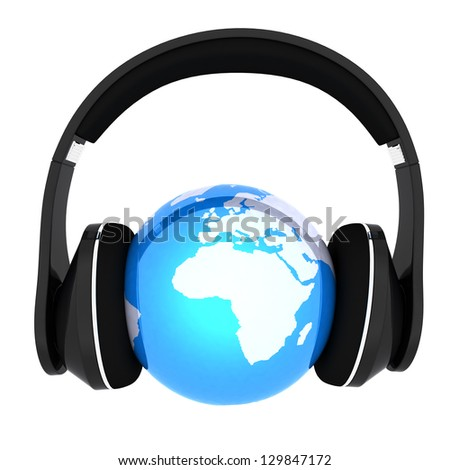 Blue earth with headphones. World music concept isolated on white - stock photo