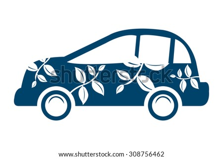 Blue Eco Car Infographics Flat Icon, Sign Isolated on White Background - stock photo