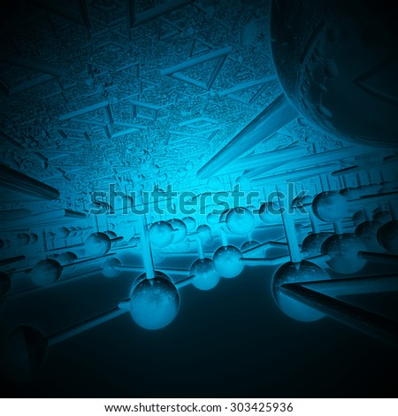 Blue Ellipses Connected To Each Other Fractal Art Design - stock photo