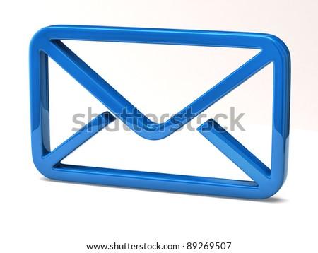 Blue Email icon on white background - stock photo