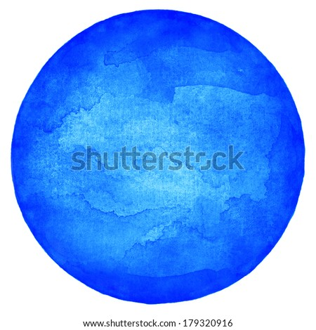 Blue empty circle watercolor on white background. Image blank round shape form isolated of square format. Abstract colored aquarelle template backdrop created in handmade technique. - stock photo
