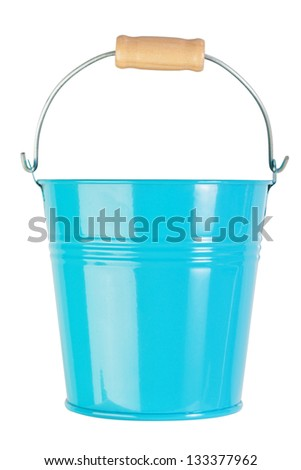 Blue, empty, home gardening bucket. Nobody. - stock photo