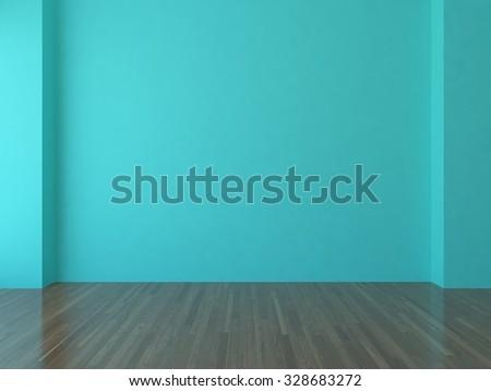 blue empty interior. 3D rendering - stock photo