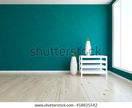 blue empty interior with a table and vases on it 3d illustration