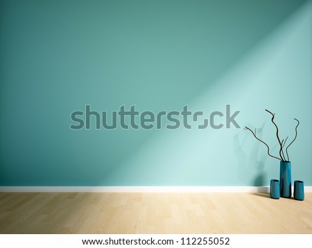 blue empty interior with vases and branch - stock photo