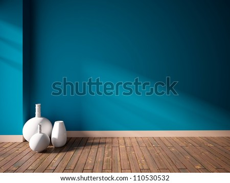 blue empty interior with white vases - stock photo