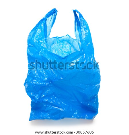 Blue empty plastic bag isolated over white background - stock photo