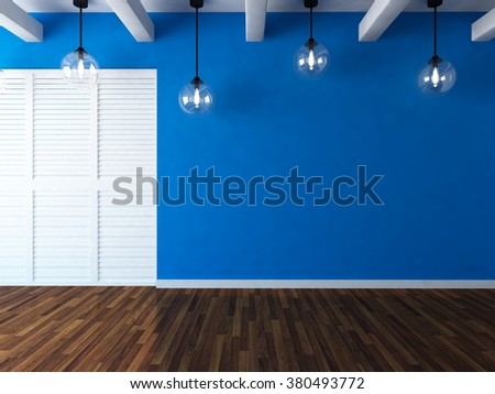 blue empty room with wardrobe. 3d illustration - stock photo