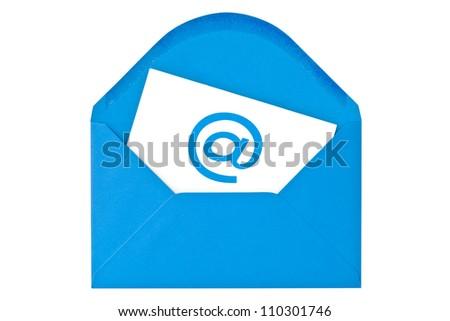 Blue envelope with email symbol. Isolated on white background - stock photo