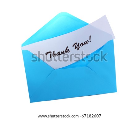 Blue envelope with text: Thank you, isolated on white - stock photo