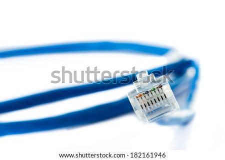 Blue Ethernet Line isolated on white - stock photo