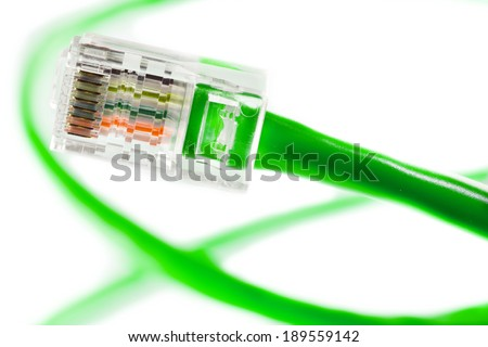 Blue Ethernet Line isolated on white - stock photo