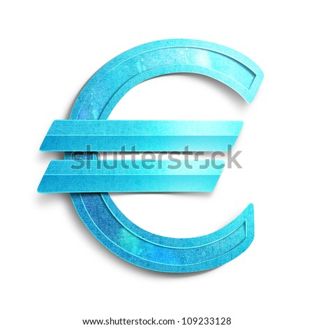 Blue euro sign. Paper cut illustration.Isolated on white background.