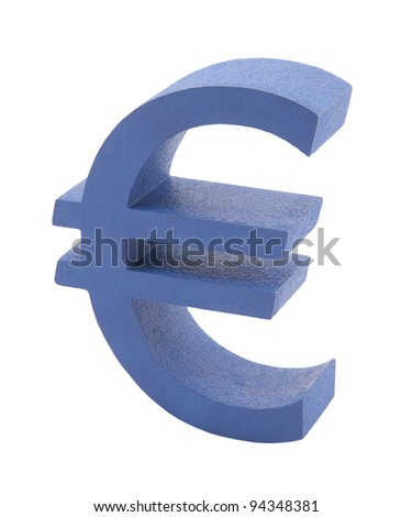 Blue euro symbol isolated on white