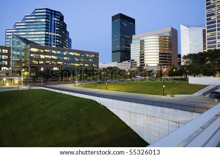 Blue evening in downtown Cleveland, Ohio. - stock photo