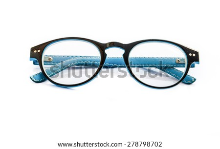 Blue eye glasses isolated over the white background .