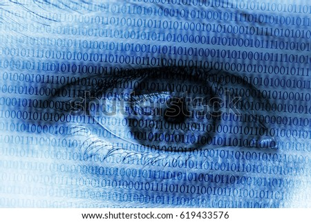 Blue eye with digital numbers symbolizing computers cybersecurity hacking surveillance internet