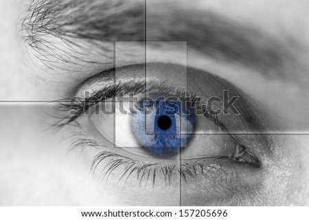 Blue eye with virtual hologram medicine and vision concept stock