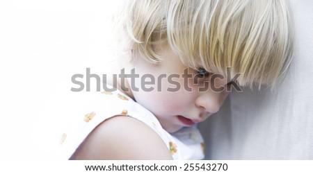blue-eyed little girl - stock photo