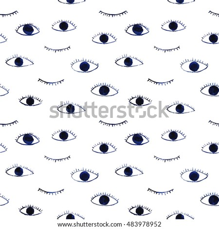 blue eyes seamless pattern, hand drawn watercolor