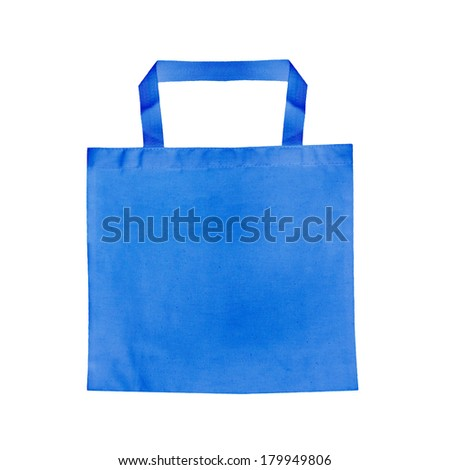 Blue  Fabric bag isolated on white background