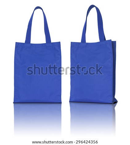 blue fabric bag on white background - stock photo