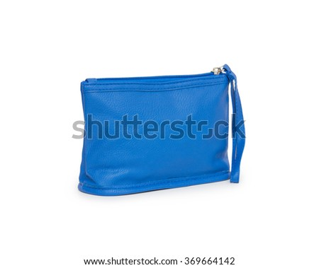 blue fabric bag with zipper on white background - stock photo