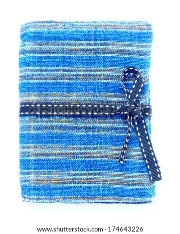 Blue fabric  cover notebook