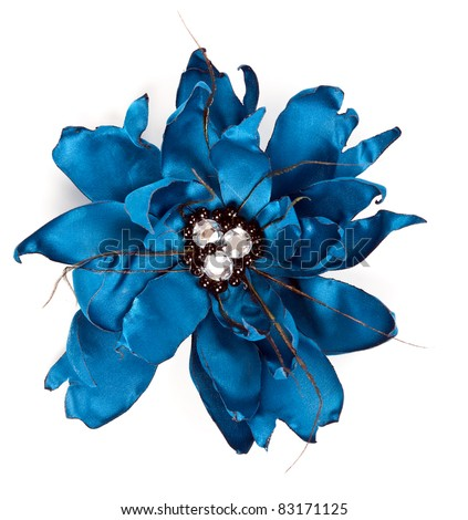 blue fabric flower with crystals isolated on a white background - stock photo