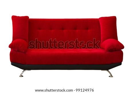 Blue fabric modren sofa on white background - stock photo