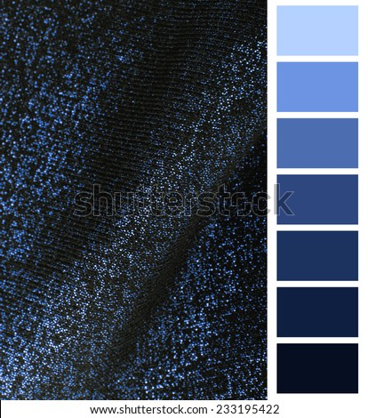 blue fabric texture complimentary color palette chart - stock photo