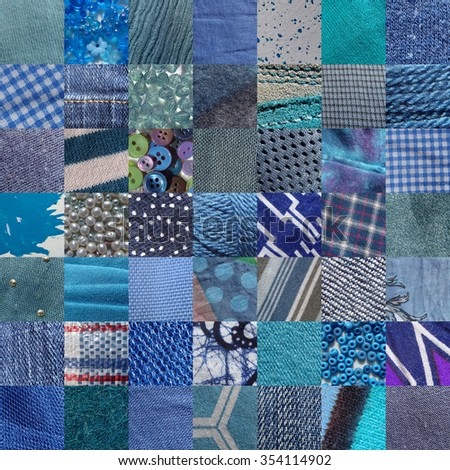 BLUE fabrics & other materials patchwork - 49 pictures - stock photo