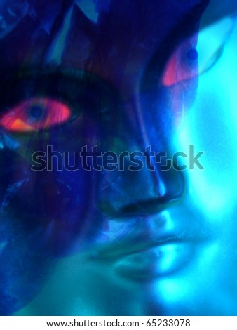 Blue face - stock photo