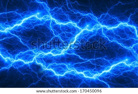 Blue fantasy lightning - stock photo