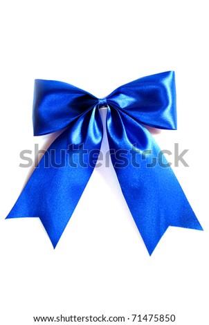 blue fashion ribbon bow isolated on white background - stock photo