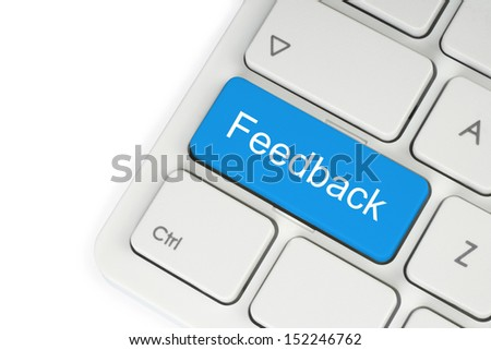 Blue feedback button on keyboard close-up on white background