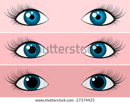 Blue female eyes - bright and dark - stock photo